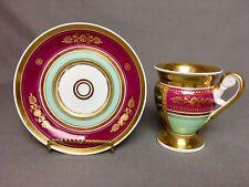 Antique Old Paris Tea/Coffee Cup & Saucer (c.1840) Magenta Mint Lots of Gold