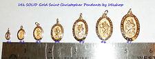 14K Solid Gold SMALL Medium Oval St St. Saint Christopher Medal   Pendant Charm