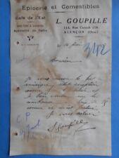 Lettre anc. : L. Goupille - Epicerie et Comestibles - Alençon - 1927