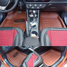 5Pcs/Set Universal Car Floor Mats Front & Rear Liner Leather Auto Mat Brown