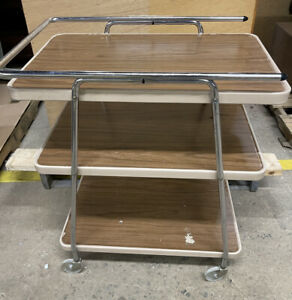 Vintage COSCO Mid Century 3 Tier Metal Rolling Bar Serving Cart WOOD Grain