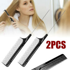 2pcs Black Fine Tooth Metal Pin Rat Tail Comb Hairdressing Styling Salon Tool