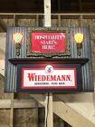 VINTAGE  WIEDEMANN BEER  LIGHTED SIGN .Hospitality Starts Here.