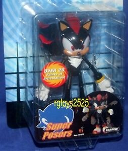 """Sonic X Shadow  7"""" Sonic THE HEDGEHOG Super Posers New Factory Sealed Toy Island"""
