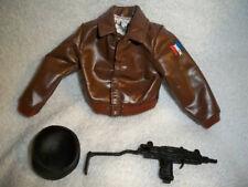 GI Joe DOLL Brown Bomber Jacket, machine gun & Beret Used Jacket is in VERY nice