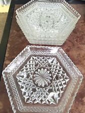 """Set 4 Anchor Hocking Wexford Pattern Crystal Octagonal Dishes  7 1/2"""" Clear"""