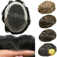 French Lace Front Mens Toupee Poly Hairpiece Human Hair Systems for Men Natural