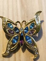 Vintage Gold Tone Purple Blue Rhinestone Butterfly Brooch
