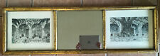 Vintage Wood Faux Bamboo Mirror Regency Gold With Benecke Prints Mitla Cuadra