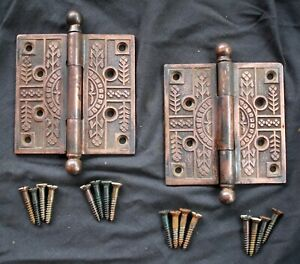 "4 avail CLEAN Pair 4""x4"" Antique Vintage Old Eastlake Iron Exterior Door Hinges"