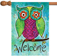 Toland Rainbow Owl 28 x 40 Cute Colorful Welcome Tree Branch Bird House Flag