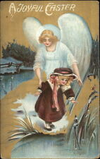 Easter - Angel Watches Over Little Girl Playing Near Water c1910 Postcard