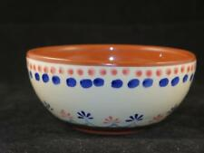 STUDIO POTTERY Glazed Earthenware Open Bowl Blue & Red Floral Pattern