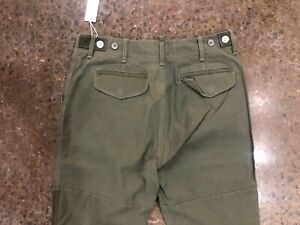 NWT HUDSON JEANS MEN'S SLOUCHY SLIM MILITARY PANT ARMY GREEN STRETCH SIZE 32
