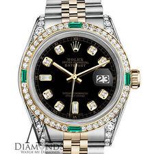 Unisex Rolex Steel & Gold 36mm Datejust Watch Black Diamond Dial Emerald
