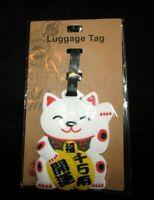 Keep Calm & Move On LUCKY CAT Vinyl ID Travel Luggage Tag School Bag Tote NIP