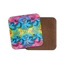 OM Lotus Flower Cork Backed Drinks Coaster - Yoga Spiritual Girls #8161