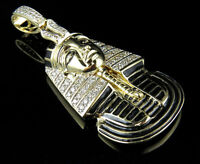 10K Yellow Gold Real Diamonds Men's Black Egyptian Pharaoh Pendant Charm 1.0ct