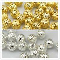 Quality Gold or Silver Plated Metal Filigree Spacer beads 4mm 6mm 8mm 10mm