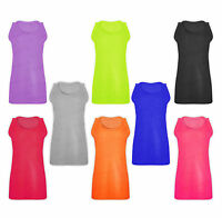 Womens Ladies Plus Size Plain Stretch Ribbed T-Shirt Summer Tank Top Vest 14-28