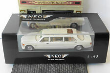 MERCEDES BENZ S CLASS W126 STRETCH LIMOUSINE 1990 WHITE NEO 45356 1/43 LHD