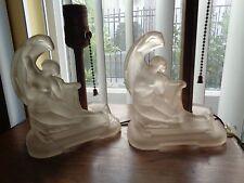 SALE Antique ART DECO Pair TABLE Boudoir 2 LAMPS Figure Nude Woman LADY Glass