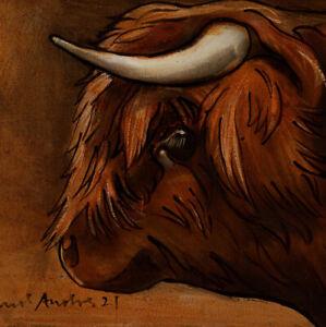 HIGHLAND COW PORTRAIT : ORIGINAL OIL PAINTING : Farm Animal Art by David Andrews