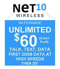 Net10 preloaded SIM with $60.00 plan 20GB (DOUBLE DATA OFFER ENDS NOV 11)