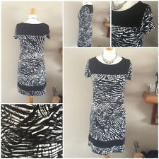 ladies black and white casual dress short sleeve size 10