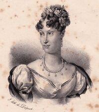 Lithographie Impératrice Marie-Louise d'Autriche Napoléon Bonaparte 1833