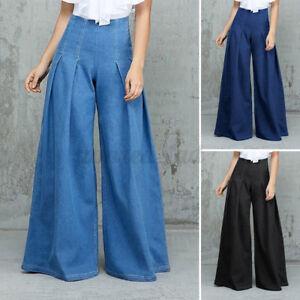 DE Mode Damen Denim Jeans Hohe Taille Lang Hosen Weites Bein Palazzo Hose Pants