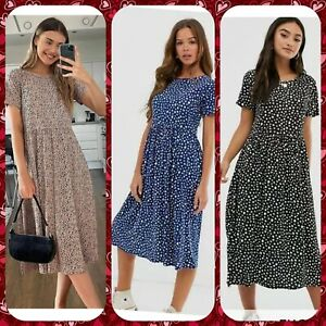 Wednesday's Girl Smock Dress 6,8,10,14,18,20,22 Blue Beige Black Smudge Spot New
