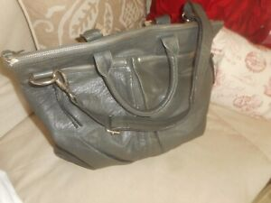 CRATE  &  BARREL LARGE  GRAY  LEATHER  TOTE  BAG