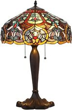 "Tiffany-Style 2-Light Victorian Table Lamp Red Yellow Stained Glass 23"" High"