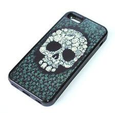 for iPhone 5C - Black Green Flower Skull Hard TPU Rubber Gummy Skin Case Cover