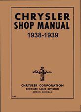1938 1939 Chrysler C-18 C-19 C-20 Shop Service Repair Manual Book Guide OEM
