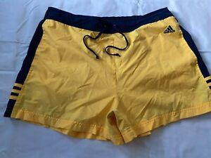 Vintage Adidas Athletic Tennis Shorts Yellow w/ Blue Trim Unlined Men's Size XL