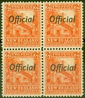 New Zealand 1938 2d Orange SG0123c P.14 V.F MNH Block of 4