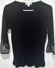 Coldwater Creek Sweater Blackw/Muted Sequin Accents on 3/4 Sleeves Size M Medium