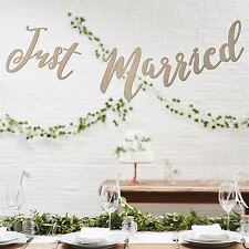 Ginger Ray Wooden 1.5m Just Married Wedding Venue Decoration Banner Bunting