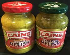CAINS Sweet Pickle & Sweet Mustard Hot Dog Relish Condiments Canes Kains Kanes