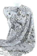 Silver Evening Shawl Wrap Sequin Scarf Party Wedding Bridal