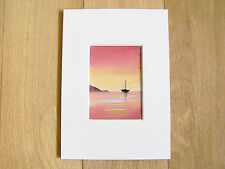 Original ACEO WATERCOLOUR PAINTING, Sarah Featherstone, Sunset Sail, Boat, Sea