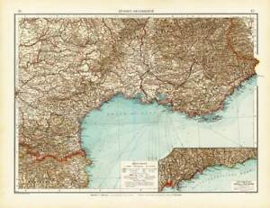 Antique Map-SOUTHEAST FRANCE-FRANKREICH-NICE-NIZZA-RIVIERA-Andree-1904