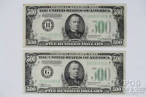 2 1934-A $500 B00328396A New York G00354802A Chicago 2 US Notes $1000 21335