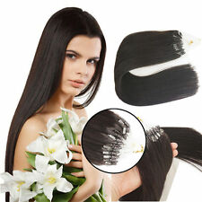 "16""-26"" Micro Ring Beads Loop Tip Remy Human Hair Extensions Straight Dark Brown"