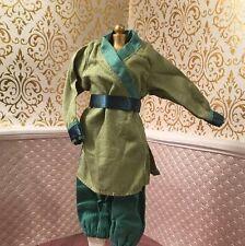 Mulan Green Warrior Soldier Pants Top Disney Doll Barbie Wardrobe Chinese