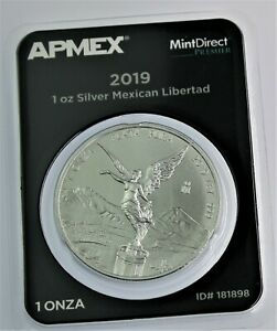 2019 Mexico Libertad Silver .999 1 Ounce Onza in Tamper Evident Packaging.
