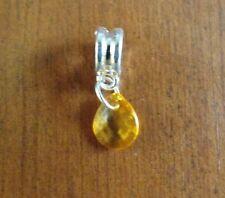 pendentif argenté goutte orange 10x9 mm