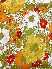 2 Retro Floral Heavy Vinyl Sheets Oilcloth(?) Table Upholstery Fabric 100�x50�
